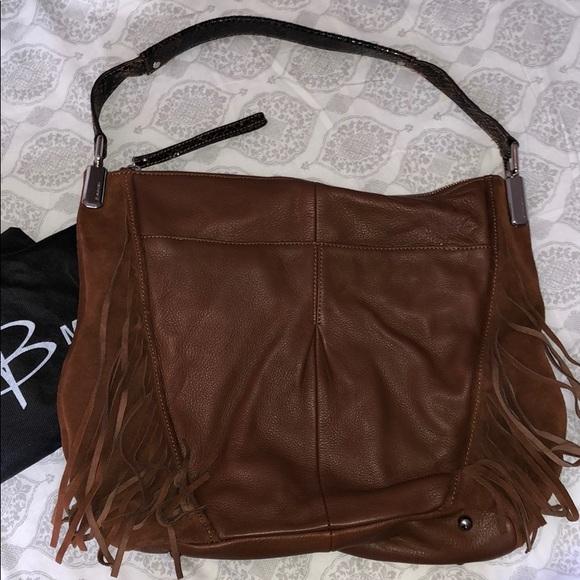 b. makowsky Bags   B Makowsky Leather And Suede Fringe Hobo   Poshmark 5f673f5ede